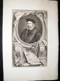Houbraken C1750 Folio Antique Portrait. Nicholas Bacon, Keeper of the Seal